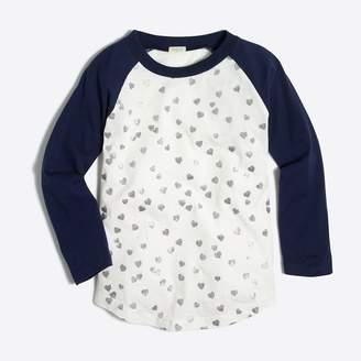 J.Crew Factory Girls' glitter hearts baseball keepsake T-shirt