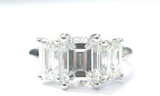 Tiffany & Co. Platinum 3-Stone Emerald Cut 4.10ct Diamond Ring