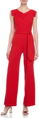 Bebe Red Belted Wide Leg Jumpsuit