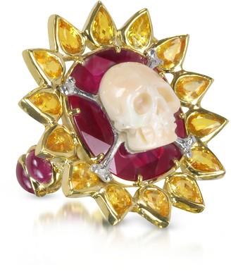 Bernard Delettrez Gold, Ruby and Yellow Sapphires Skull Bone Ring