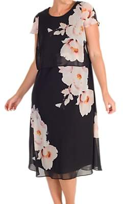 d05b02a6b3 chesca Chesca Floral Print Layered Chiffon Dress, Black/Blush