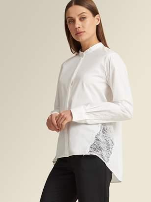 DKNY Lace Inset Poplin Shirt