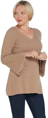 Halston H By H by Ribbed V-Neck Bell Sleeve Pullover Sweater