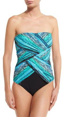 Gottex Snake Charmer Bandeau One-Piece Swimsuit $172 thestylecure.com