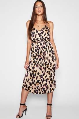 boohoo Tall Leopard Strappy Satin Midi Dress 111398172