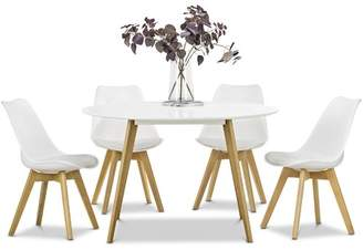 White Heather Dining Table & Eames Replica Chairs Dining Set Seating Capacity: 6 Seater