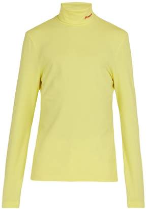 Calvin Klein Logo-embroidered stretch-cotton roll-neck top