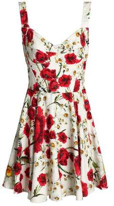 Dolce & Gabbana Pleated Floral-print Cotton-blend Boucle Mini Dress