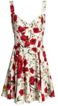 Dolce & Gabbana Pleated Floral-Print Cotton-Blend Bouclé Mini Dress