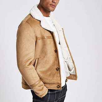 River Island Brown suede button front shearling jacket