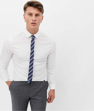 Asos Design DESIGN skinny shirt with stripe tie pack save