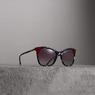 Burberry Marble-effect Square Frame Sunglasses