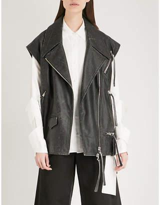 Maison Margiela Lace-up leather jacket