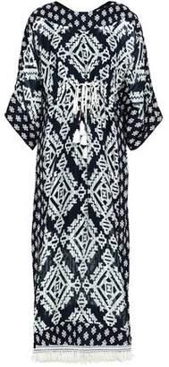 Tory Burch Fringe-trimmed Printed Silk-gauze Maxi Dress