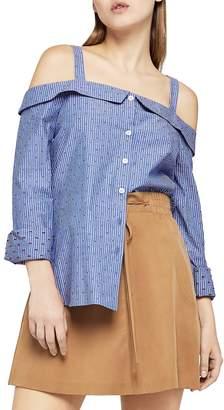 BCBGeneration Women's Cold Shoulder Striped Cotton Top