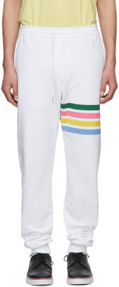 Thom Browne White Jersey 4-Bar Lounge Pants