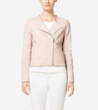 Cole Haan Italian Leather Asymmetrical Collarless Jacket