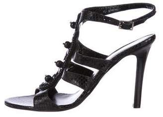 Andrew Gn Embossed Leather Embellished Sandals