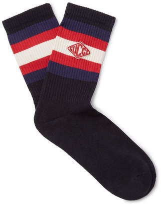 Gucci Appliquéd Striped Stretch Cotton-Blend Socks