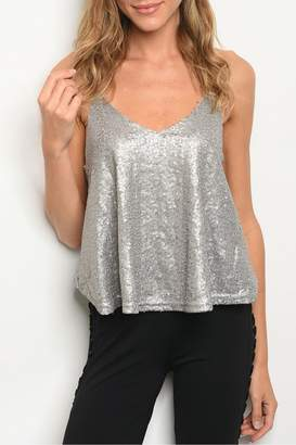 Casting Gray Sequin Top