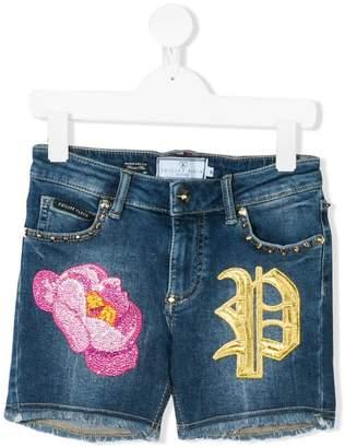 Philipp Plein Junior embroidered floral denim shorts