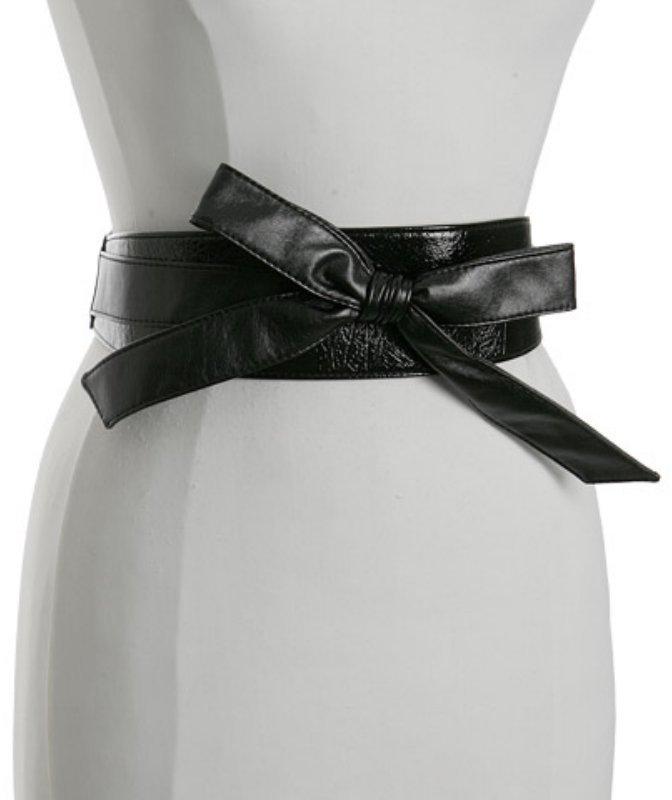 Fashion Focus black leather stretch back 'Obi' belt