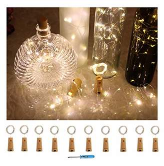 10 Pack Wine Bottle Lights with Cork-20 Led Battery Powered Copper Wire Fairy String Lights for Garden