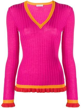Emilio Pucci ribbed ruffle cuff v-neck sweater