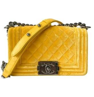 Chanel Boy Yellow Velvet Handbag