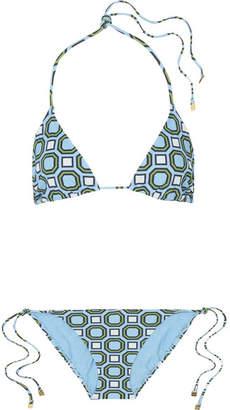 Tory Burch Geo Printed Triangle Bikini - Light blue