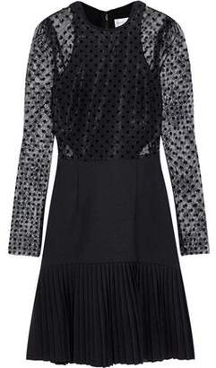 Rebecca Vallance Gabriella Flocked Chantilly Lace And Pleated Crepe Mini Dress