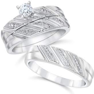 Pompeii3 1/3ct His & Hers Diamond Trio Engagement Wedding Ring Set 10K White Gold