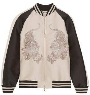 Stella McCartney Lorinda Embroidered Faille Bomber Jacket
