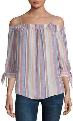 BY AND BY by&by Womens Straight Neck Elbow Sleeve Blouse-Juniors