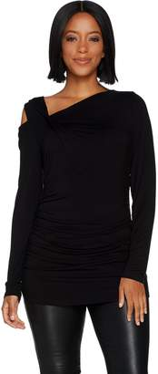 Lisa Rinna Collection Knit Top with Cut Out Shoulder Detail