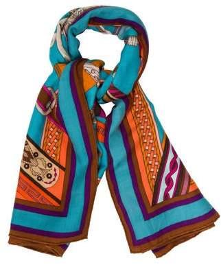 Hermes Concours D'Etriers Cashmere Silk Shawl