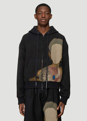 Off-White Off White Tapestry Zip Up Hooded Sweatshirt in Black