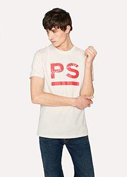 Paul Smith Men's Slim-Fit Off-White 'PS Paul Smith' Print T-Shirt