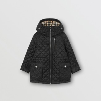 Burberry Childrens Diamond Quilted Hooded Coat