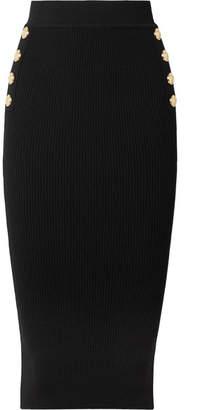 Balmain Button-embellished Ribbed Wool-blend Midi Skirt - Black
