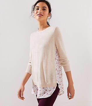 LOFT Petite Foliage Mixed Media Sweater