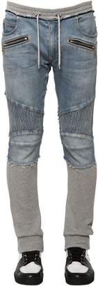Balmain 15cm Denim & Jersey Biker Sweatpants