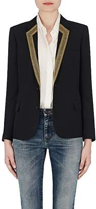 Saint Laurent Women's Embroidered-Lapel Virgin Wool Two-Button Jacket