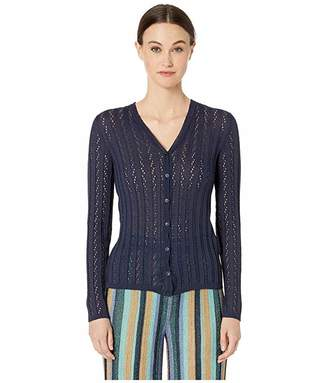 M Missoni Long Sleeve V-Neck Button Front Cardigan