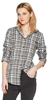 Hurley Women's Apparel Long-Sleeve Hooded Plaid Flannel Button Down Sweatshirt