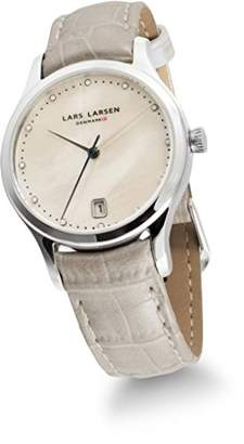 Mother of Pearl Lars Larsen Clara Women's Quartz Watch with Dial Analogue Display and White Leather Strap 139SMPL