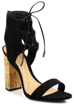 Alexandre Birman Cruz Lace-Up Suede Block Heel Sandals