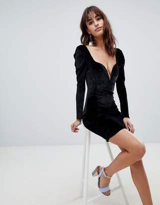 boohoo Velvet 80's Shoulder Plunge Bodycon Dress