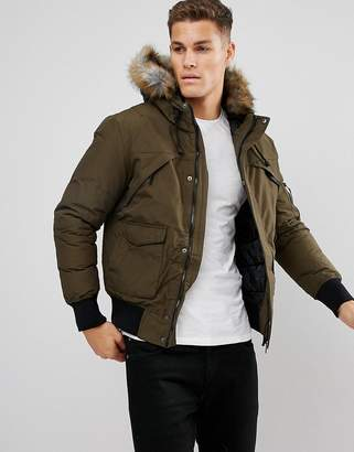 Bershka Short Bomber Jacket With Fur Hood In Khaki