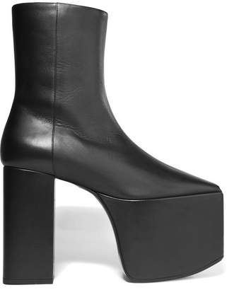 Balenciaga - Leather Platform Ankle Boots - Black $1,135 thestylecure.com